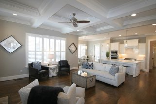 The living room and kitchen at 109 Honeyridge