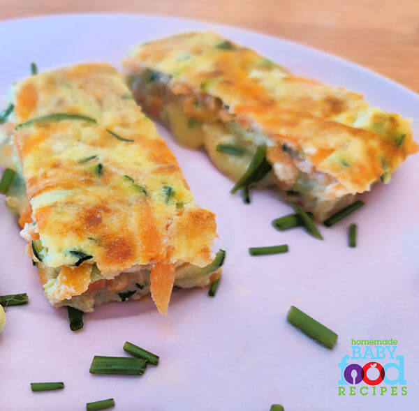 Slices of vegetable omelet for baby