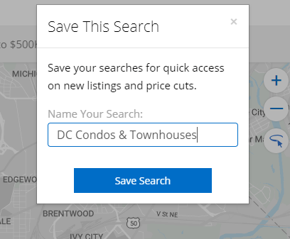 Homesnap home search with Saved Searches