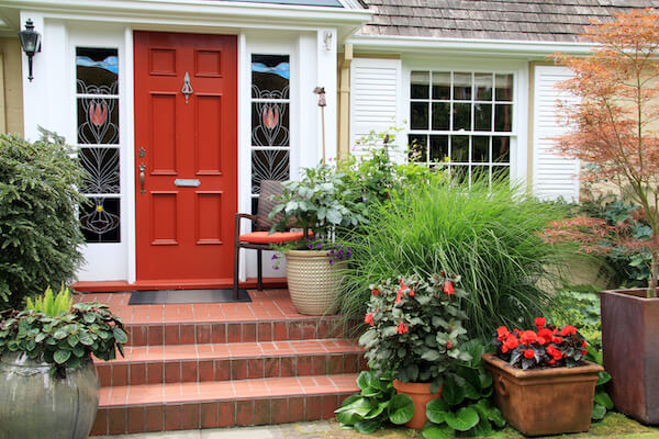exterior view of house with a red front door