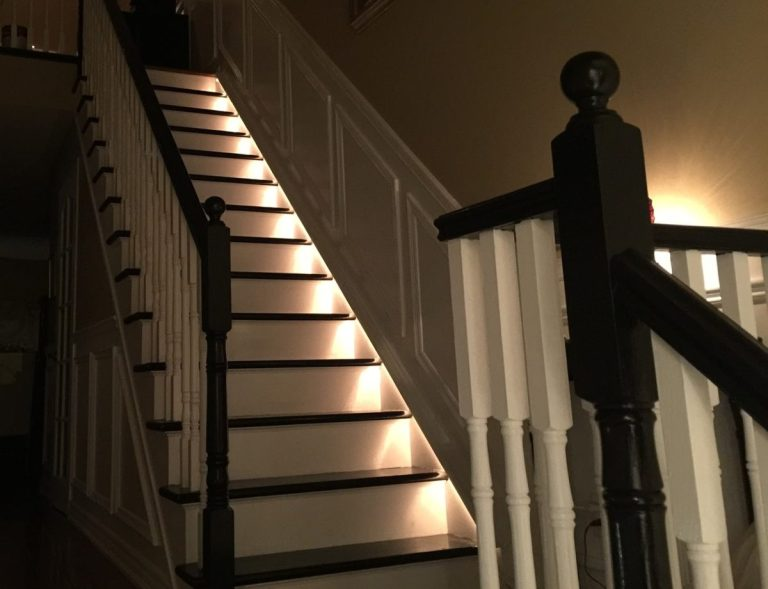 stairs with rope lights
