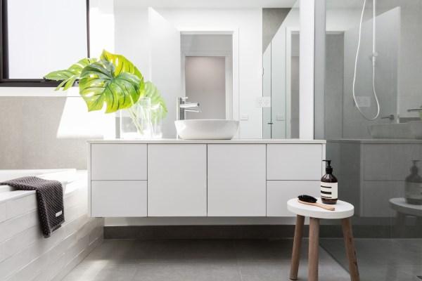 floating vanity in bathroom