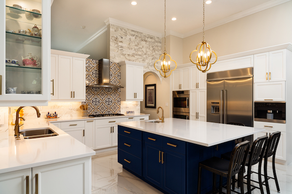 kitchen island painted classic blue pantone colour of the year