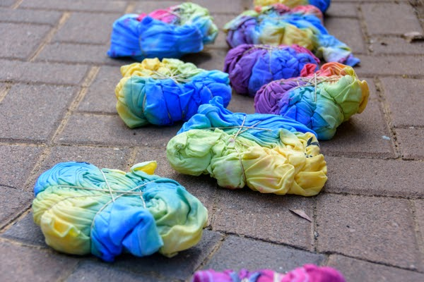wet tie dye tshirts balled up
