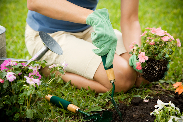 person kneeling and gardening outdoor weekend projects