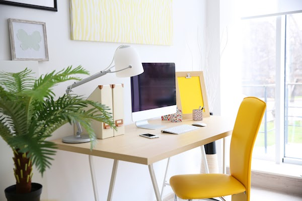 bright office used for working from home