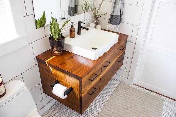 wood material bathroom vanity trends 2020