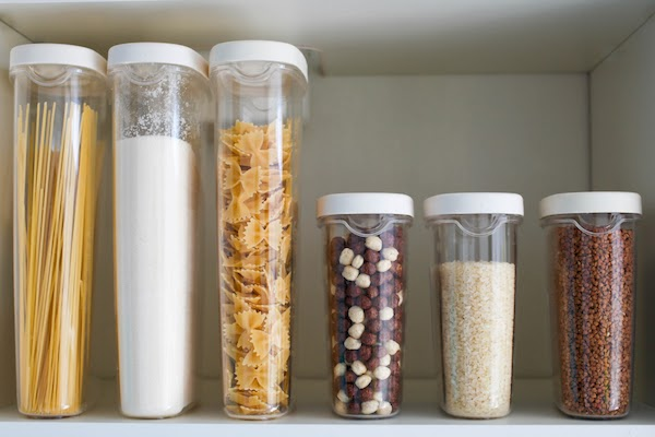 storage containers in kitchen pantry