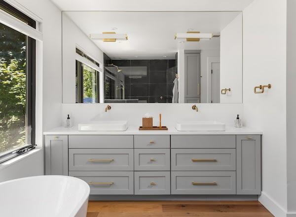 bathroom vanity with updated hardware