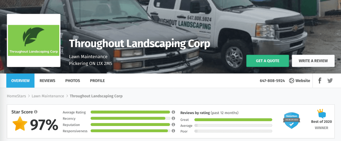 Throughout Landscaping Corp. profile on HomeStars