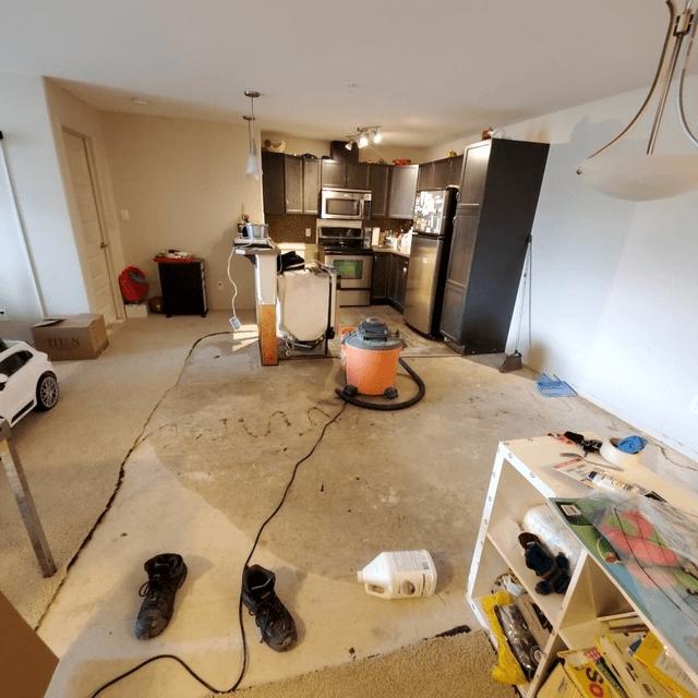 kitchen water damage due to flood