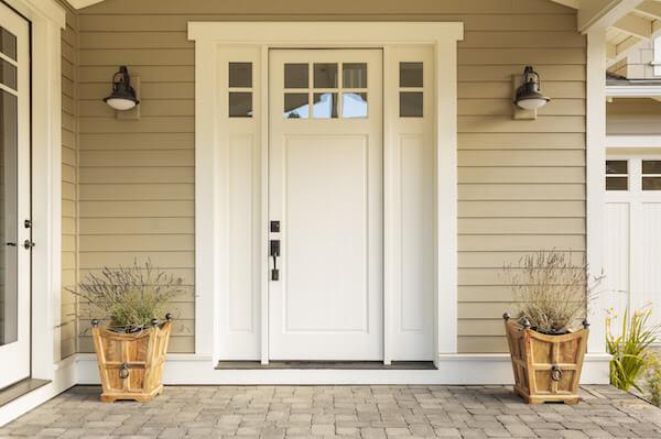 neutral white front door