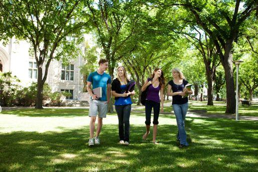 10559817 - students walking through campus visiting