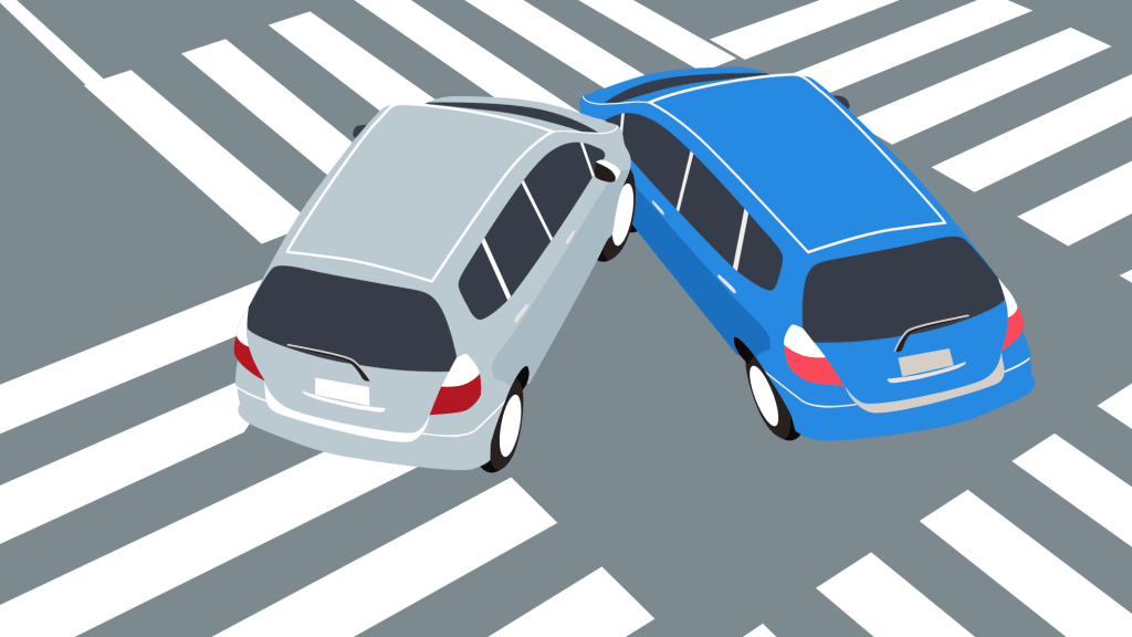 Two cars colliding in intersection