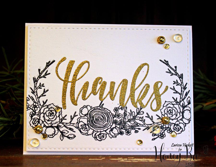 Gold Glitter Embossed Thanks Card!!