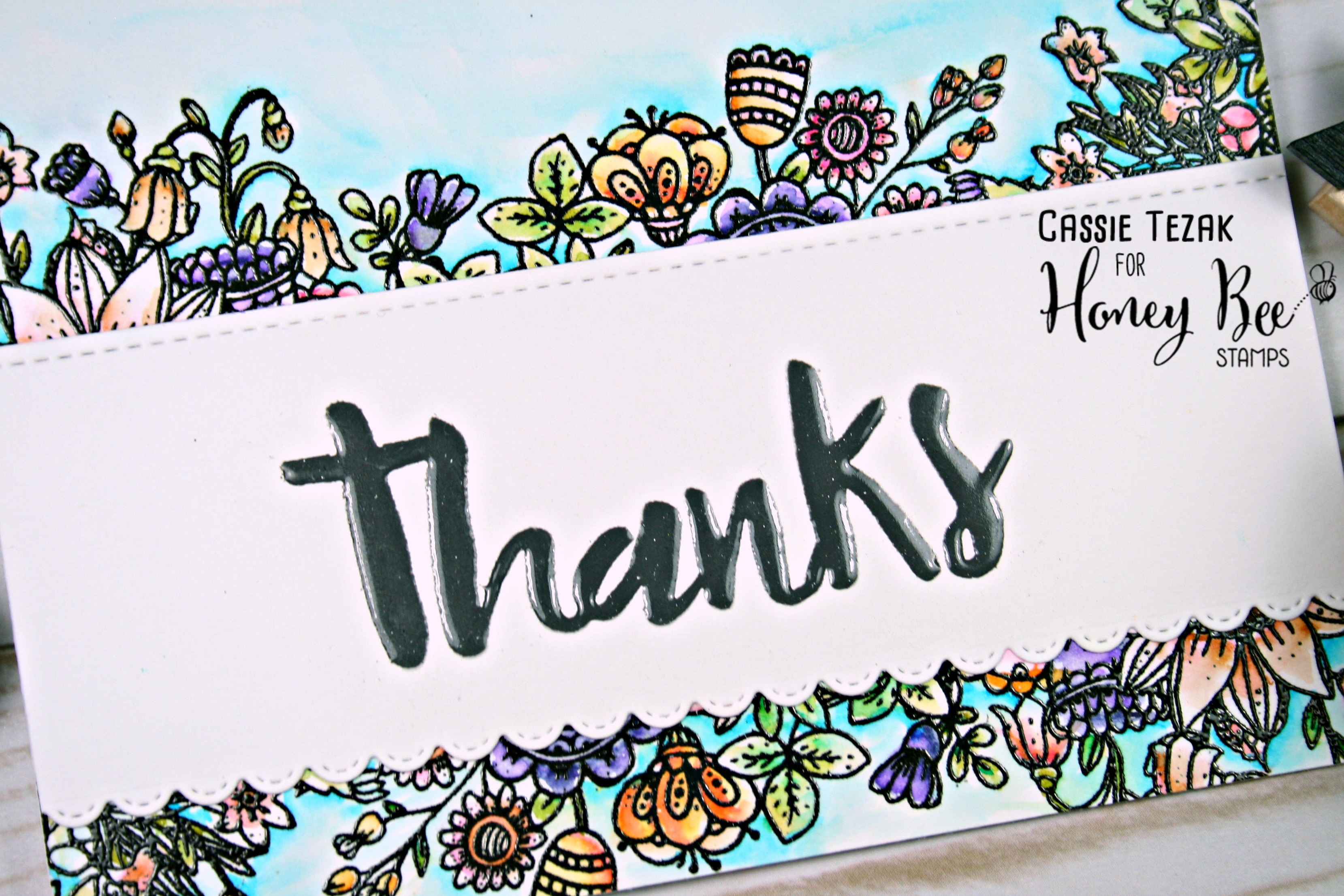Thanks- Heat Embossing Stamp; Watercolor