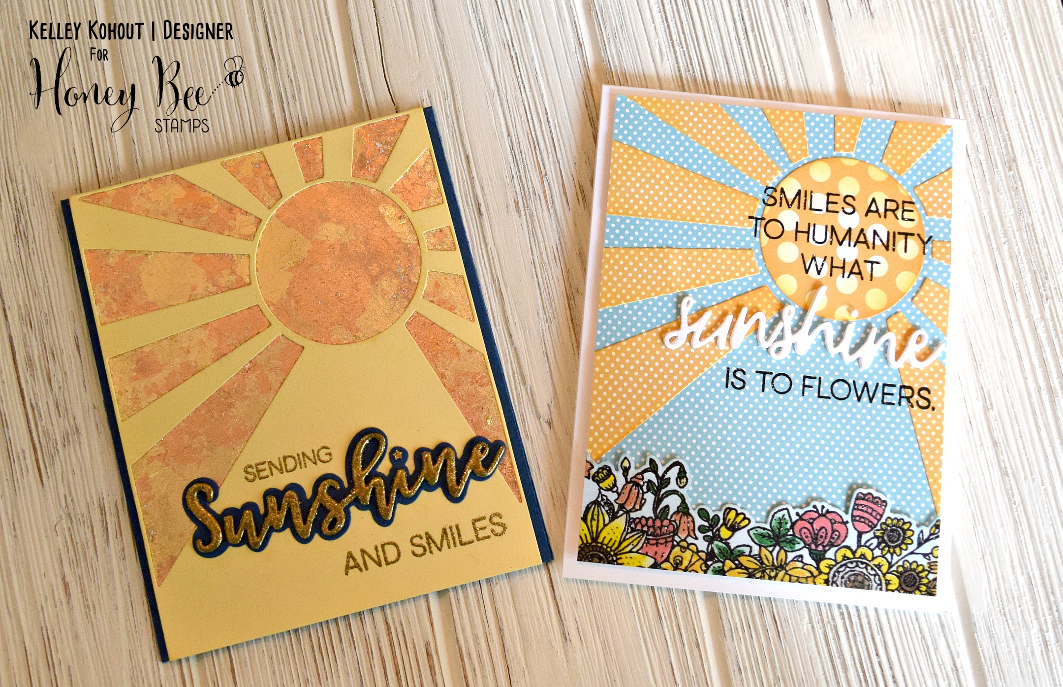 2 Cards using the Sunburst Coverplate and Sending Sunshine: United We Flourish Stamps and Dies!