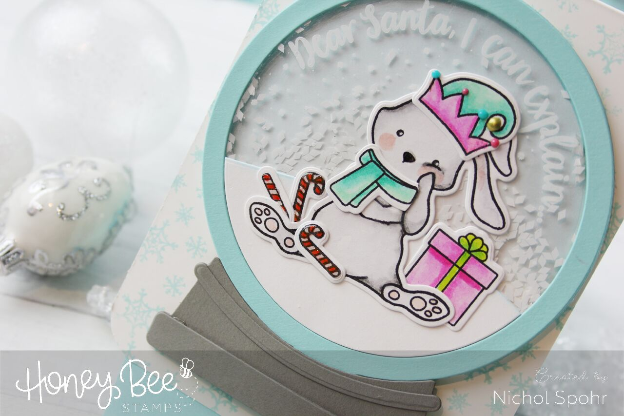 Blah Humbunny Snow Globe Shaker Card