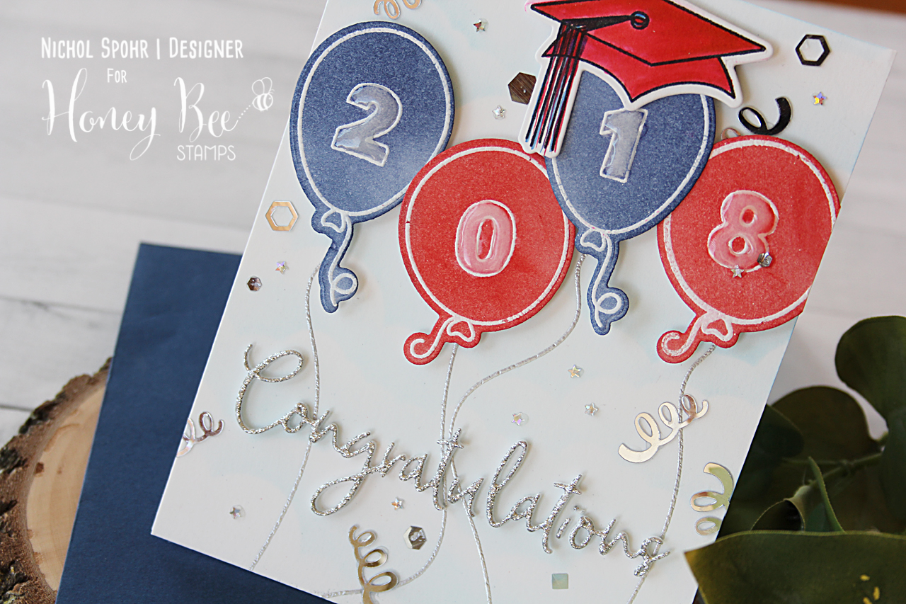 Graduation Card with Balloons & Cap