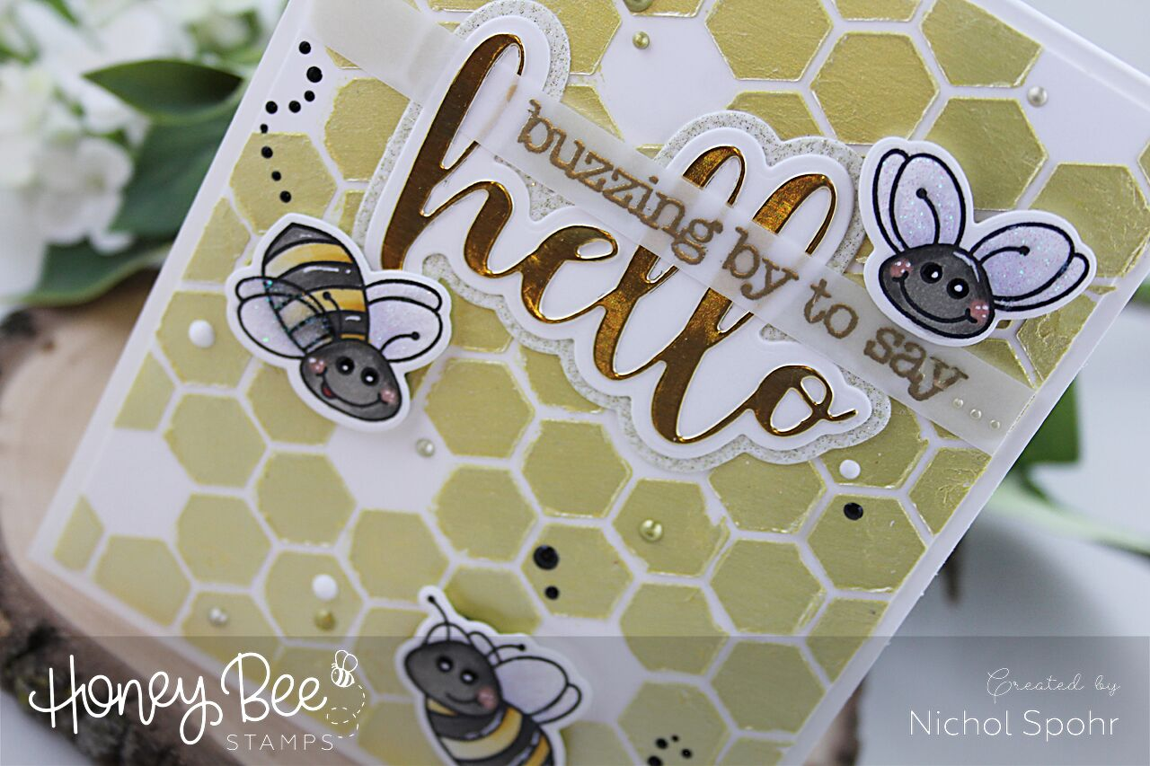 Nuvo Mousse Stenciled Hexi Background