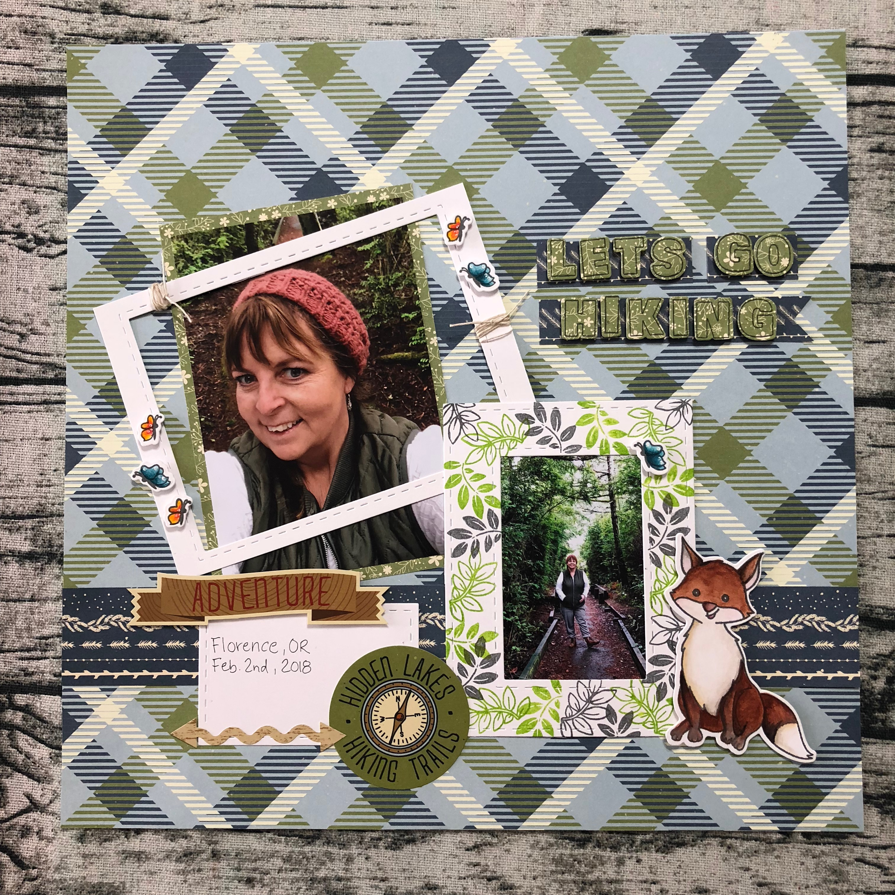 Let's Go Hiking Scrapbook Layout