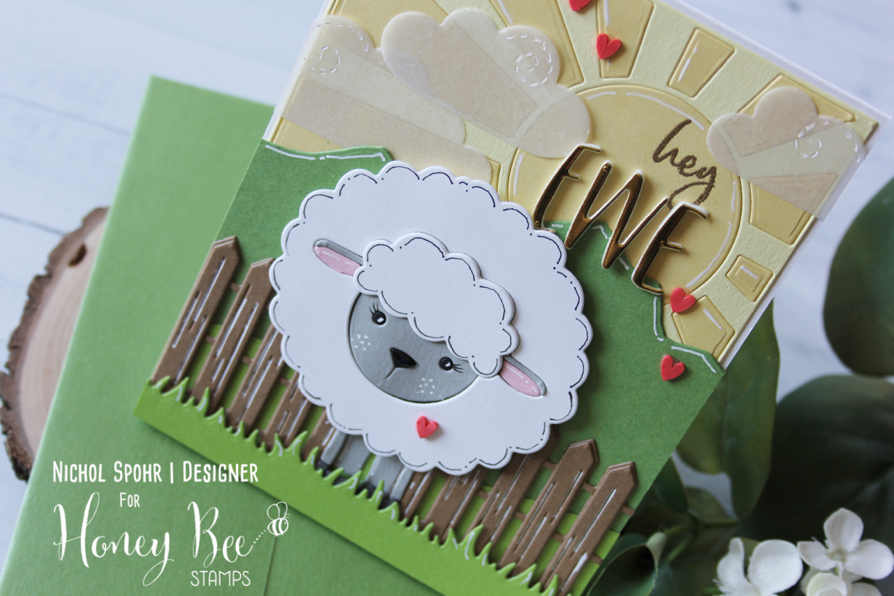 Hey Ewe Paper Pieced Die Cut Card