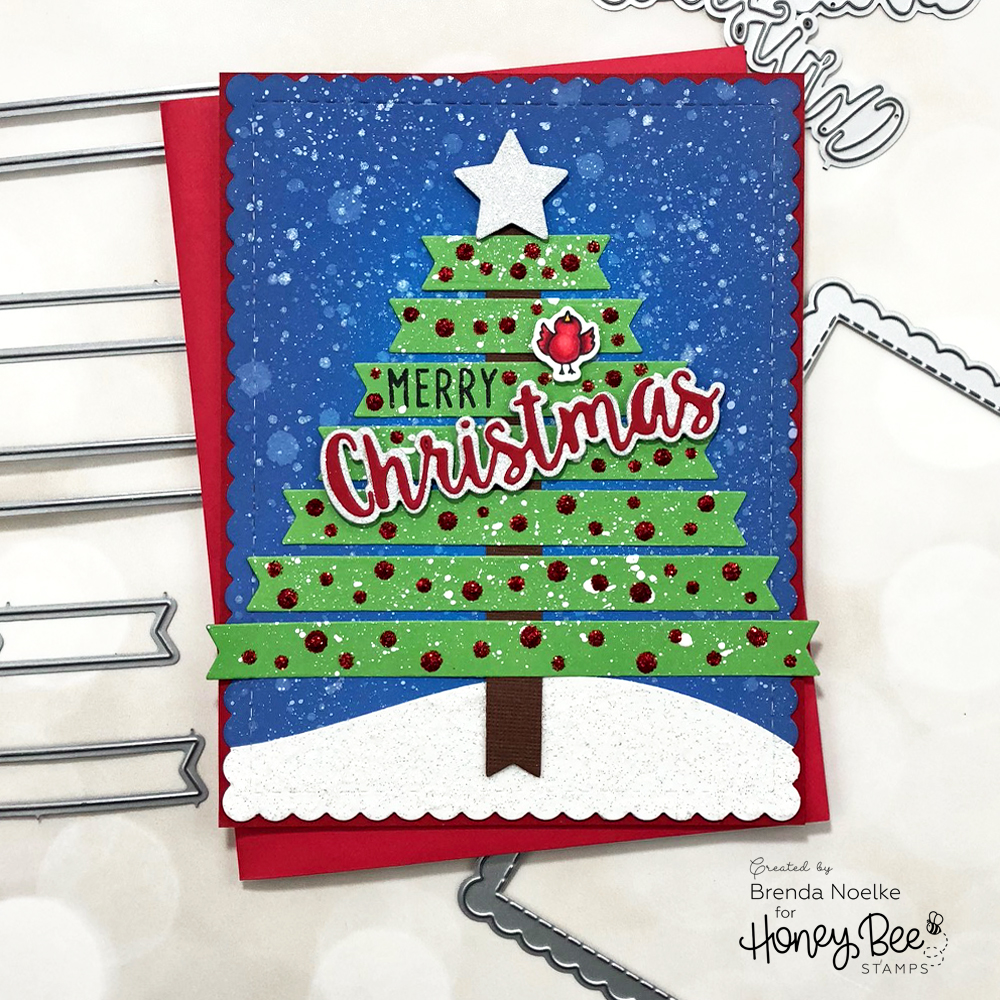 Merry Christmas Banner Tree – Honey Bee Stamps