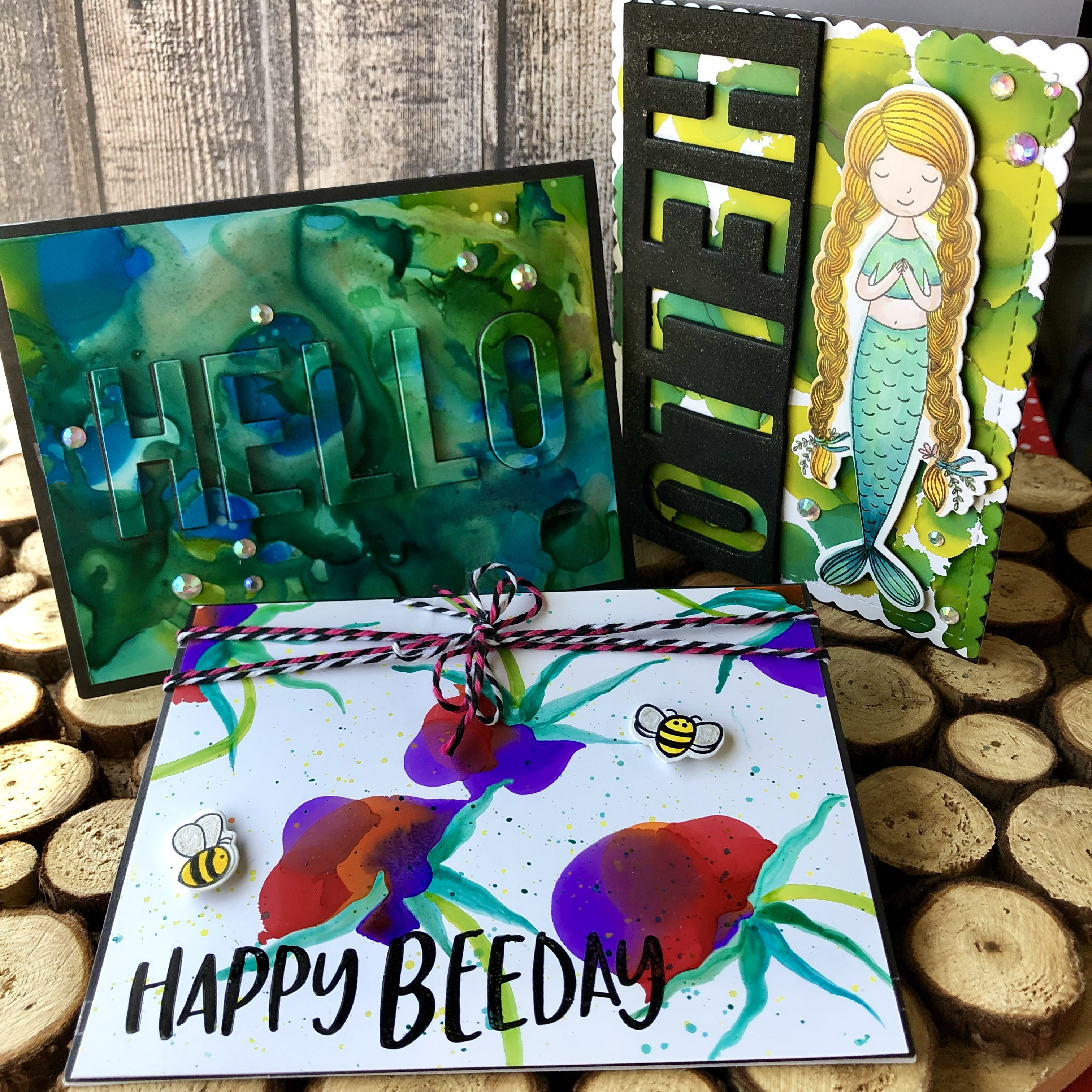 Playing with Alcohol inks and Honey Bee Stamps