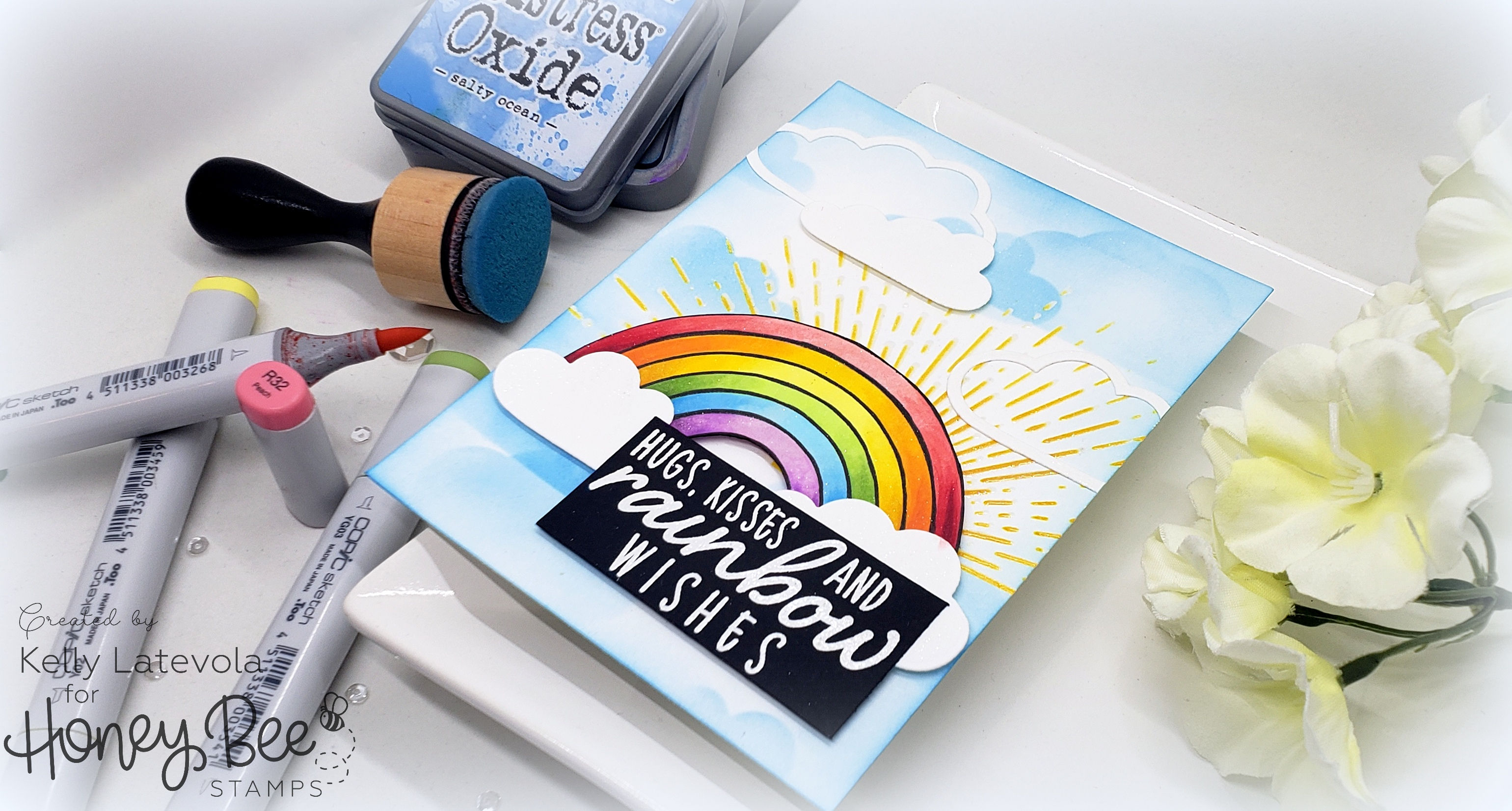 Trapped Emboss Resist Rainbow with Kelly Latevola + A Honey Bee Stamps Sale