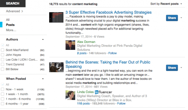 LinkedIn Posts Search Results - Social Network Features
