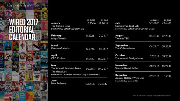 WIRED | social media content calendar | 41studio ruby on rails company