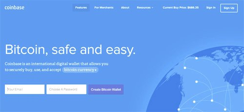 Coinbase, Negocia el Bitcoin en este sitio