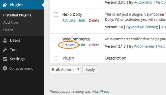 activar plugin woocommerce