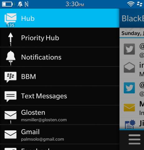 comunicaciones en blackberry hub