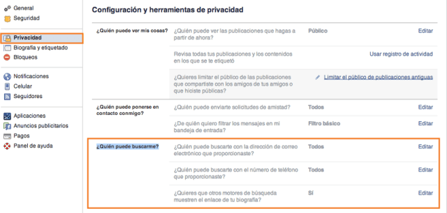 configurar privacidad en busqueda facebook