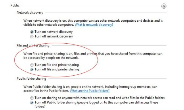 desactivar compartir archivos con Windows