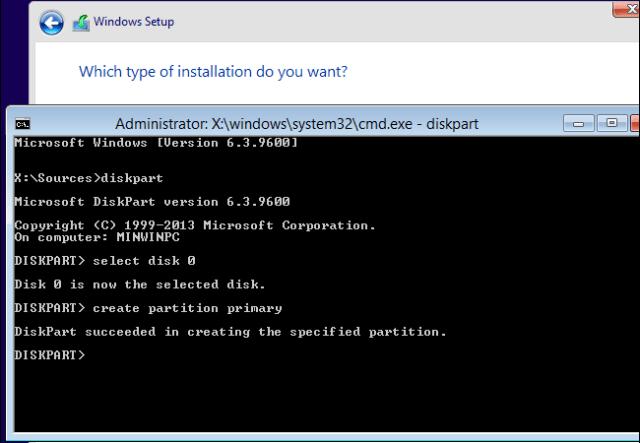 particionado de disco consola durante instalacion de windows
