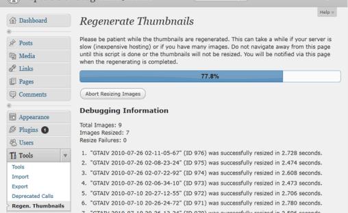 regenerar miniaturas wordpress