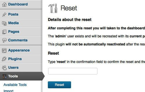 wordpress reset plugin