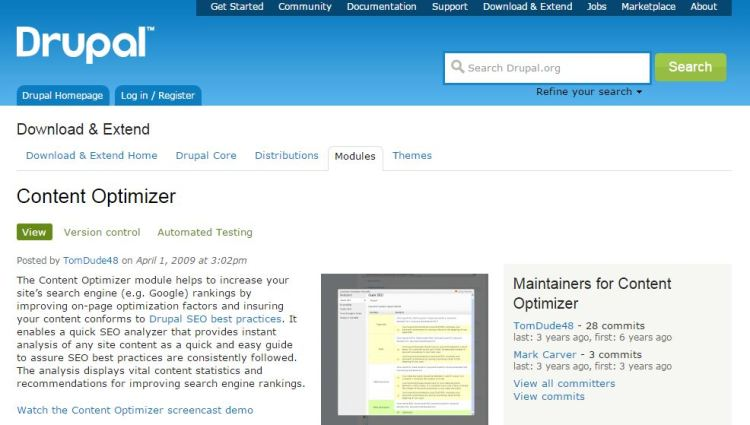 Drupal Content Optimizer