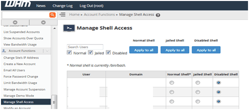 Manage shell access, Hostripples Web Hosting