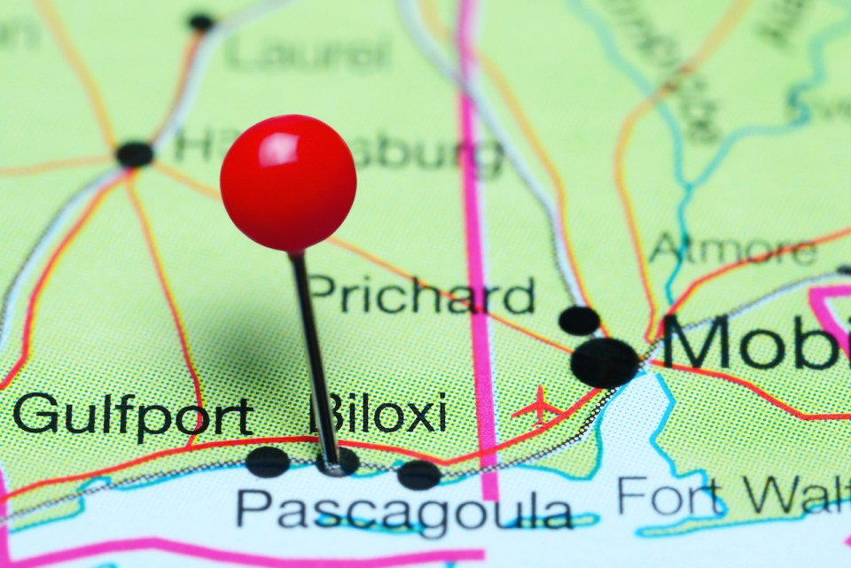 Biloxi pinned on a map of Mississippi, USA