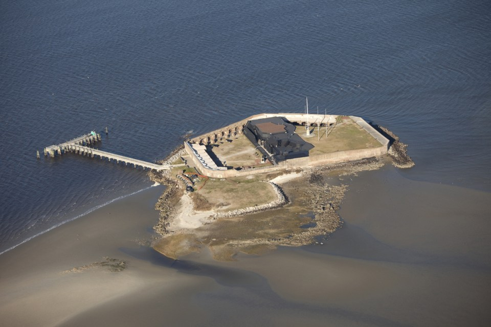 aerial view of fort sumter, where the american civil war started