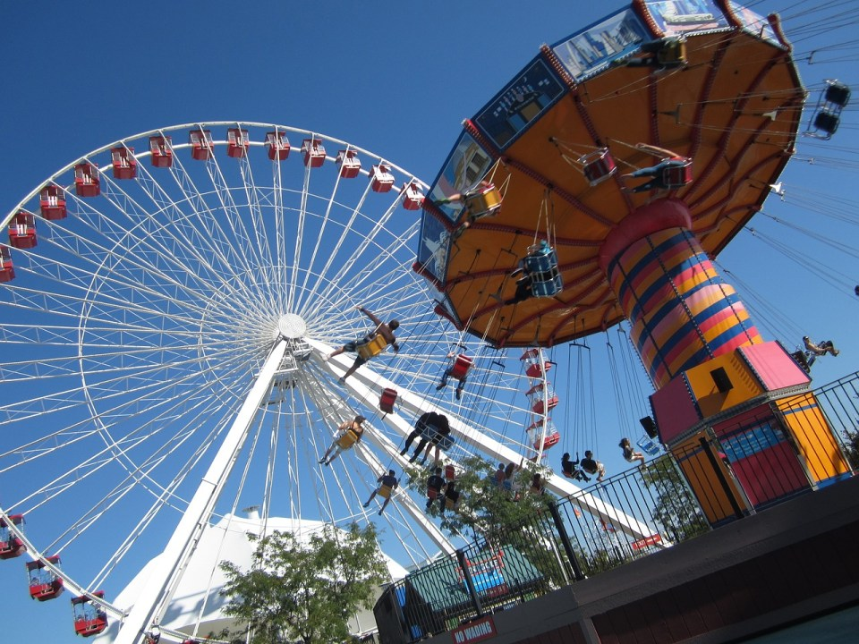 Upward view of people on the Ferris Wheel at Navy Pier in Chicago