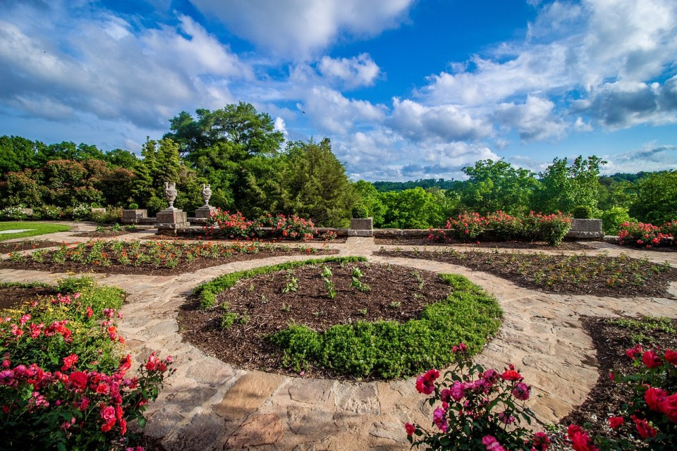 Landscape and flowers in Maymont Park, Richmond Virginia