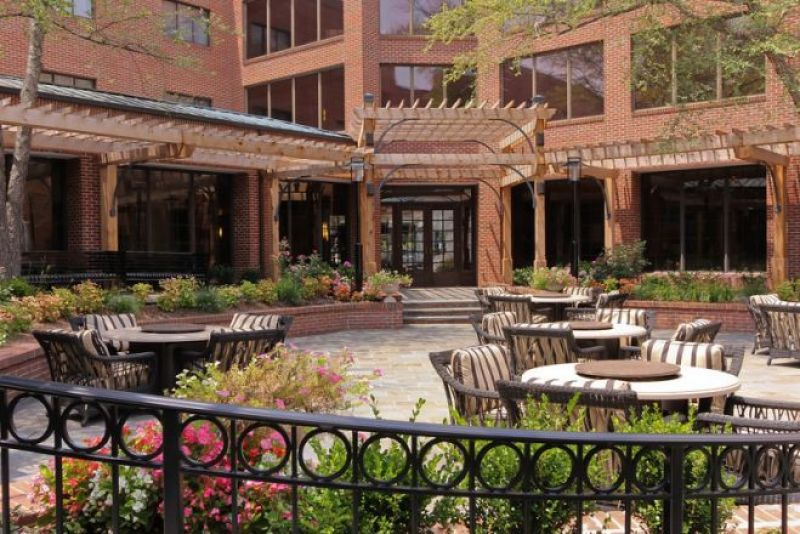 Outside brick patio for relaxing, working at Doubletree, Charlotte.