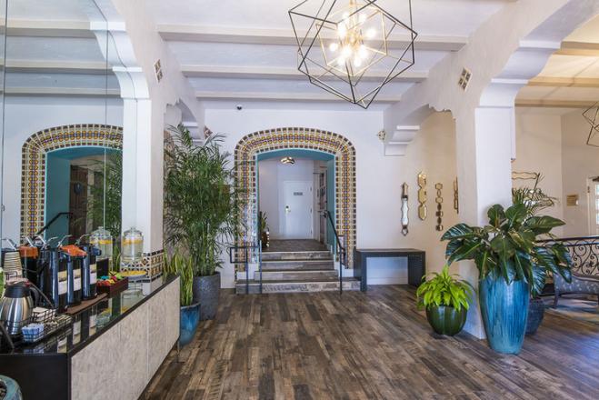 The lobby at El Cordova Hotel in San Diego