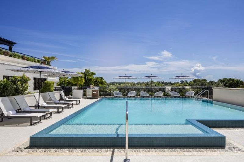 View of pool at THesis hotel Miami.
