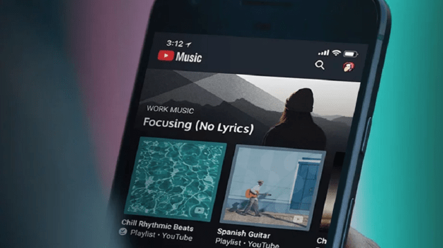 image of a cell phone displaying the home screen of youtube music premium