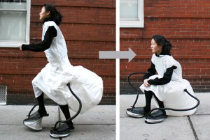 dress inflate into chair